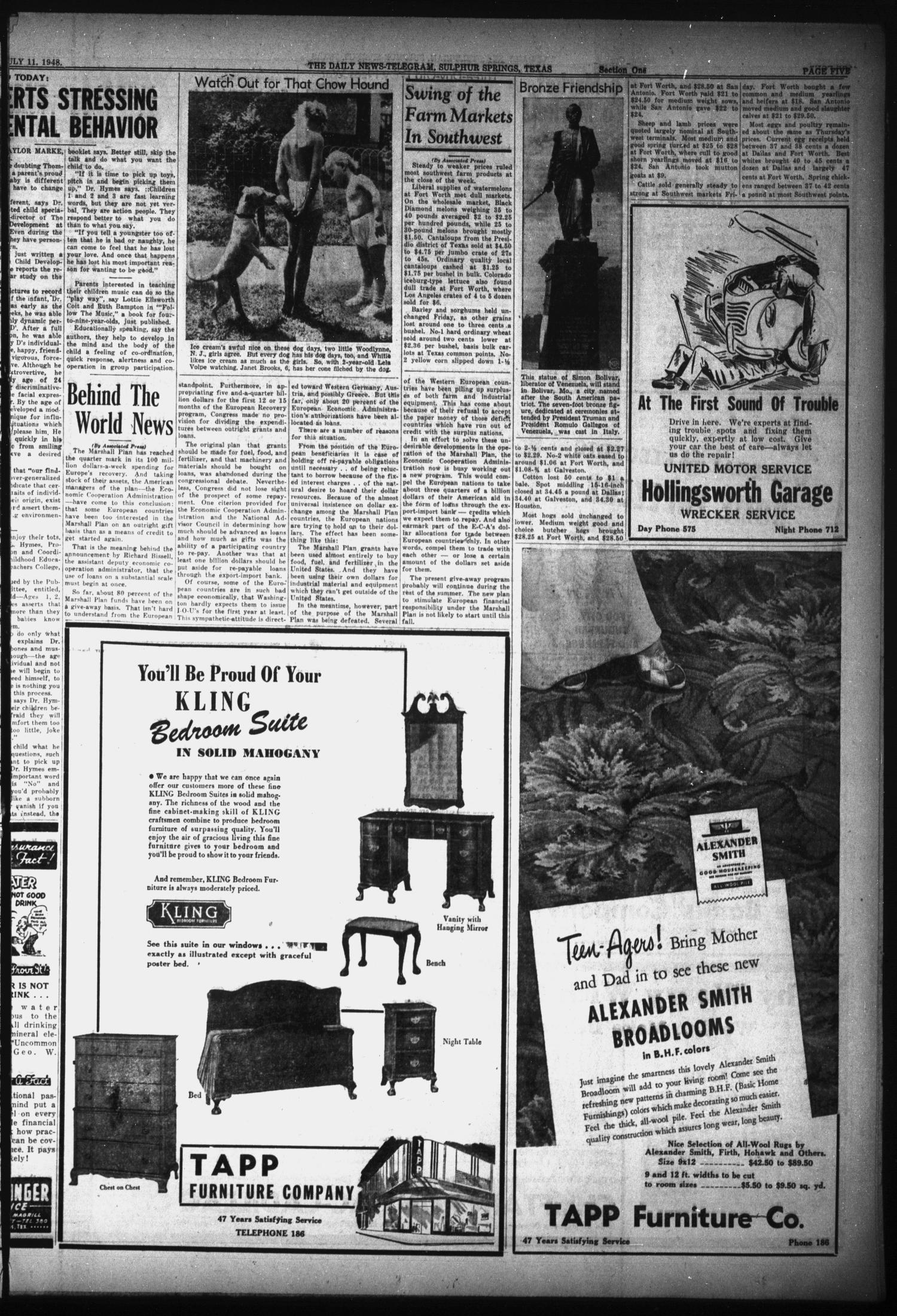 The Daily News-Telegram (Sulphur Springs, Tex.), Vol. 50, No. 164, Ed. 1 Sunday, July 11, 1948                                                                                                      [Sequence #]: 5 of 16