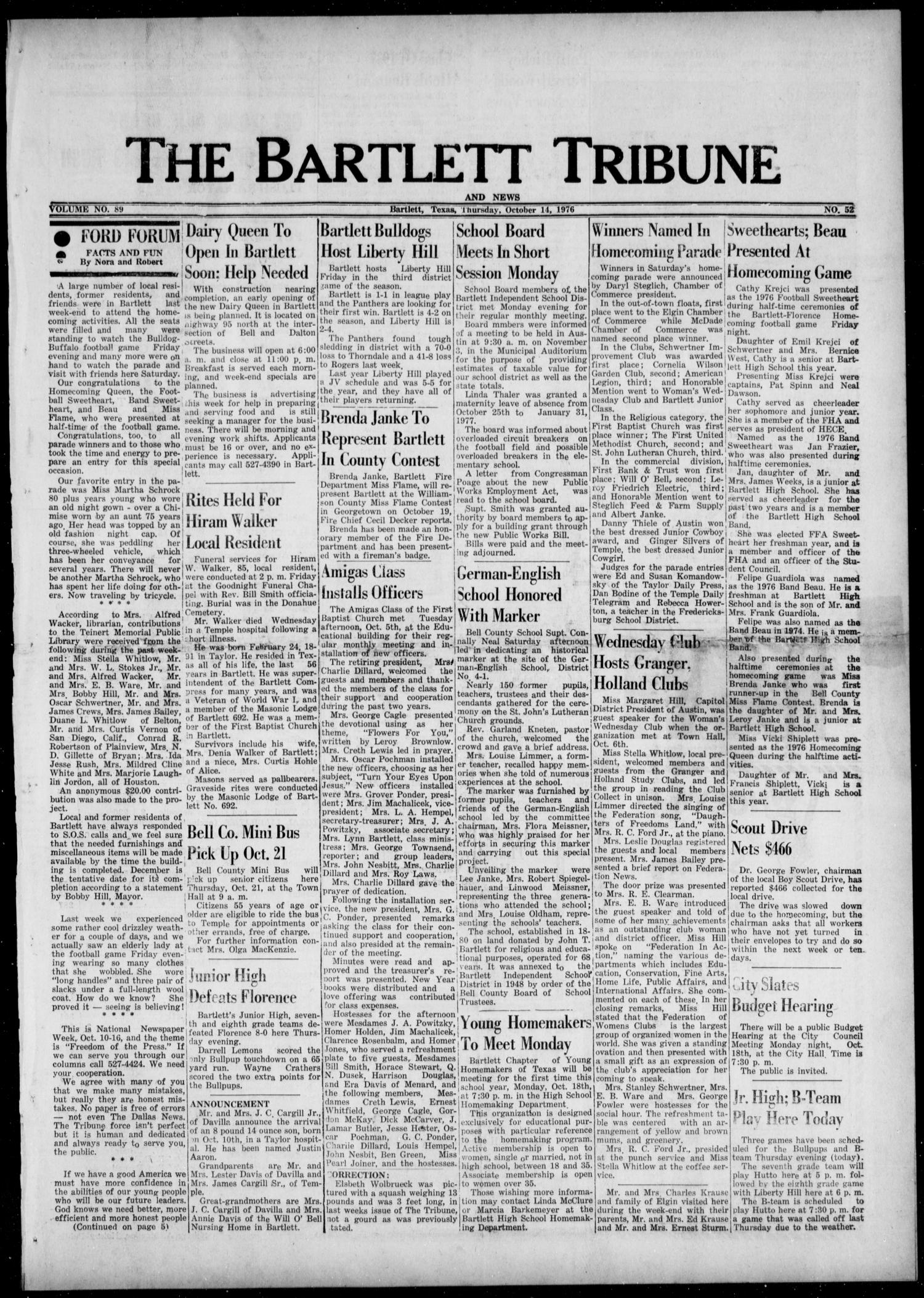 The Bartlett Tribune and News (Bartlett, Tex.), Vol. 89, No. 52, Ed. 1, Thursday, October 14, 1976                                                                                                      [Sequence #]: 1 of 8