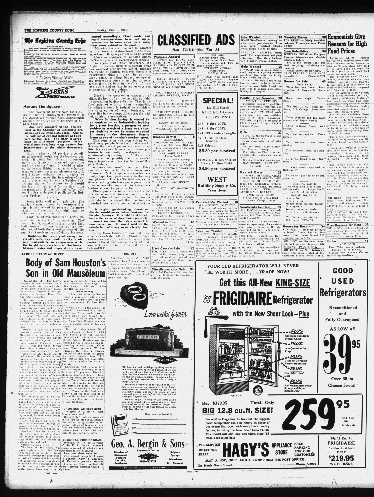 The Hopkins County Echo (Sulphur Springs, Tex.), Vol. 83, No. 23, Ed. 1 Friday, June 6, 1958