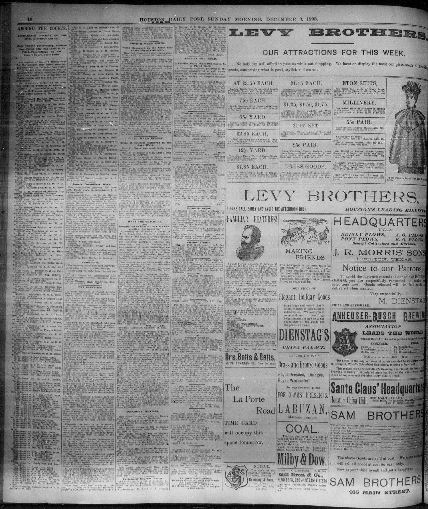 The Houston Daily Post Houston Tex Vol NINTH YEAR No 241 Ed