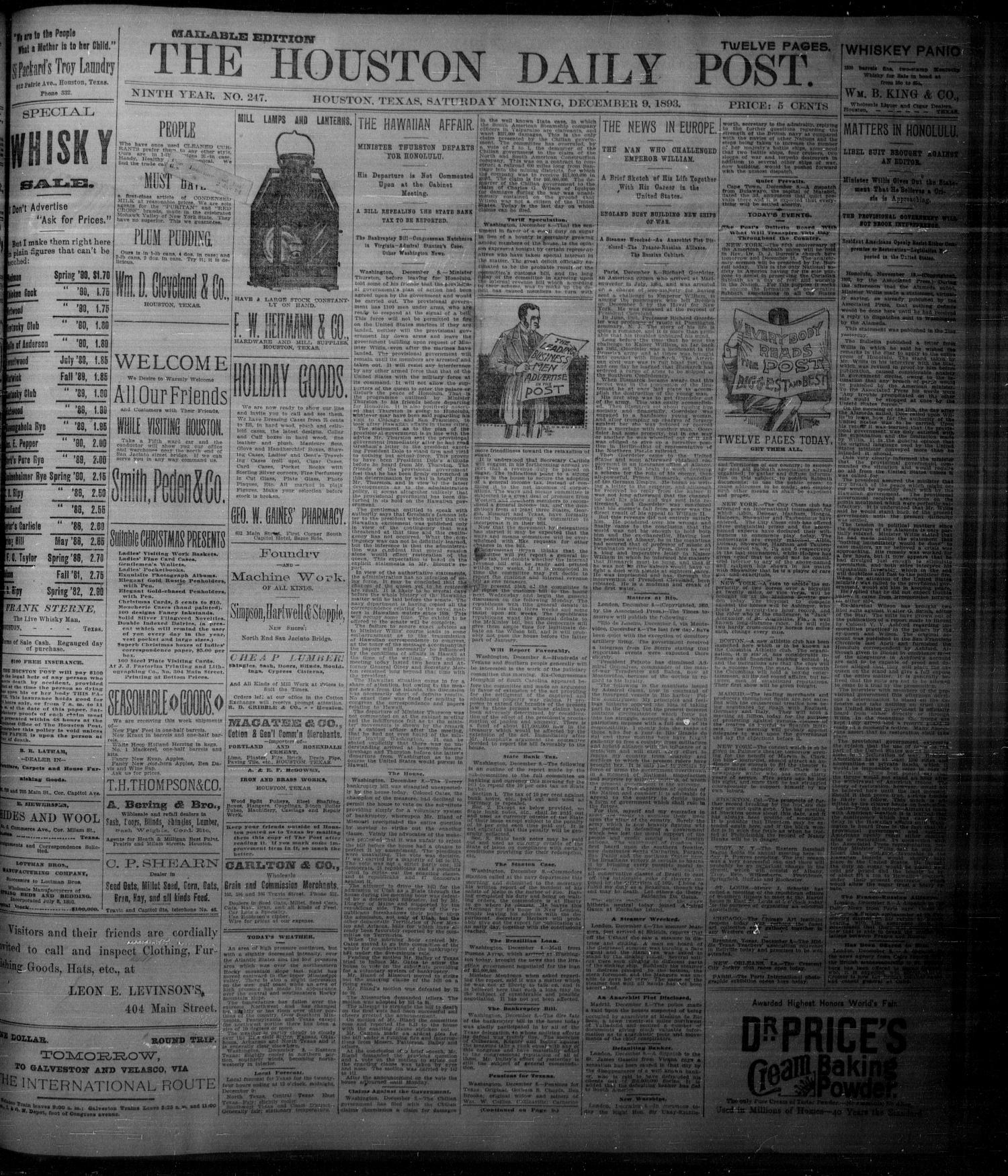 The Houston Daily Post (Houston, Tex.), Vol. NINTH YEAR, No. 247, Ed. 1, Saturday, December 9, 1893                                                                                                      [Sequence #]: 1 of 10