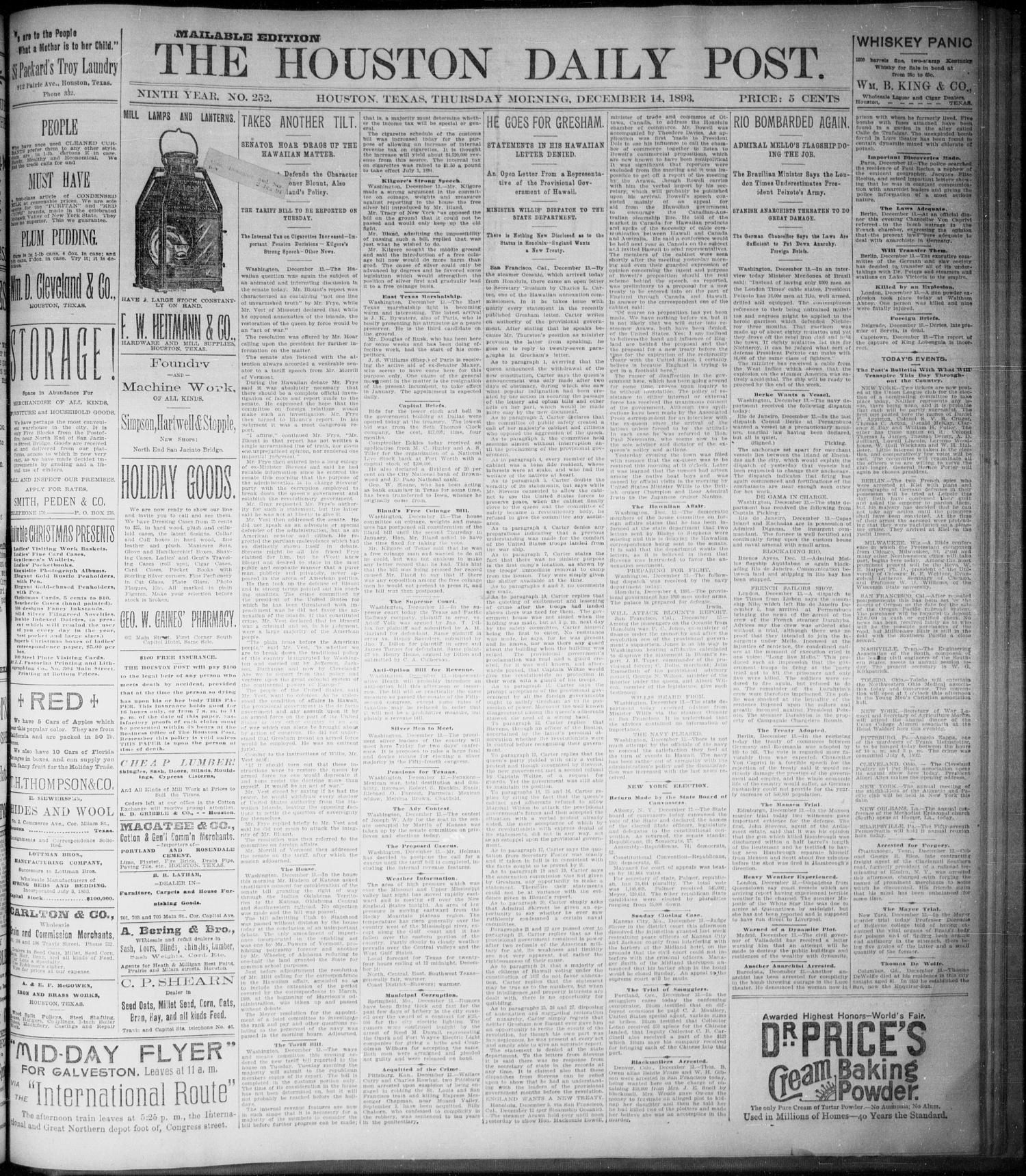 The Houston Daily Post (Houston, Tex.), Vol. NINTH YEAR, No. 252, Ed. 1, Thursday, December 14, 1893                                                                                                      [Sequence #]: 1 of 8
