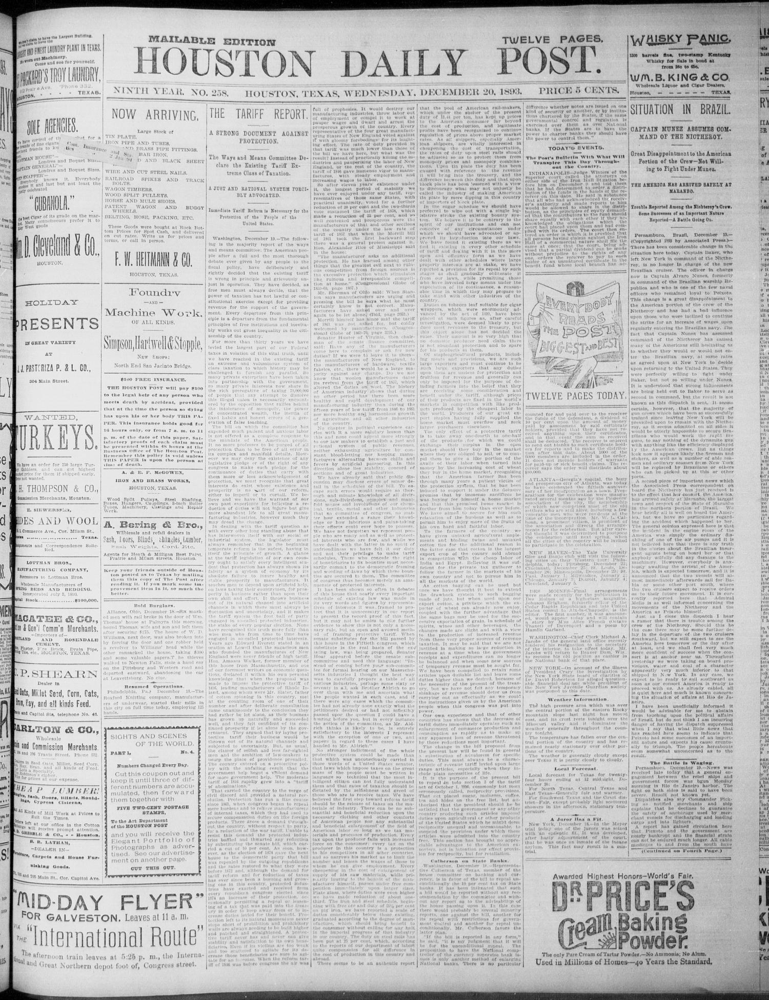 The Houston Daily Post (Houston, Tex.), Vol. NINTH YEAR, No. 258, Ed. 1, Wednesday, December 20, 1893                                                                                                      [Sequence #]: 1 of 12