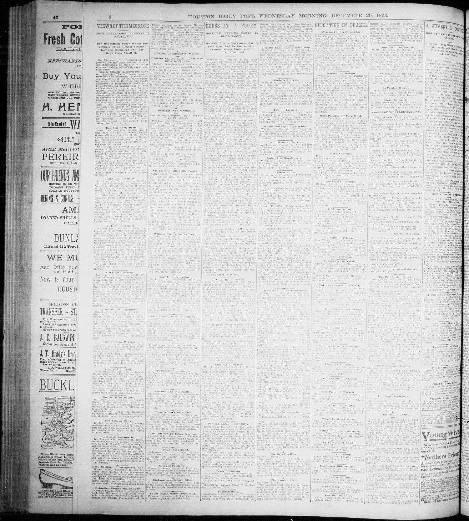 The Houston Daily Post (Houston, Tex.), Vol. NINTH YEAR, No. 258, Ed. 1, Wednesday, December 20, 1893                                                                                                      [Sequence #]: 4 of 12