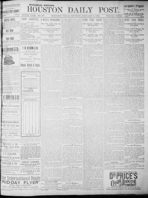 Primary view of object titled 'The Houston Daily Post (Houston, Tex.), Vol. NINTH YEAR, No. 277, Ed. 1, Monday, January 8, 1894'.