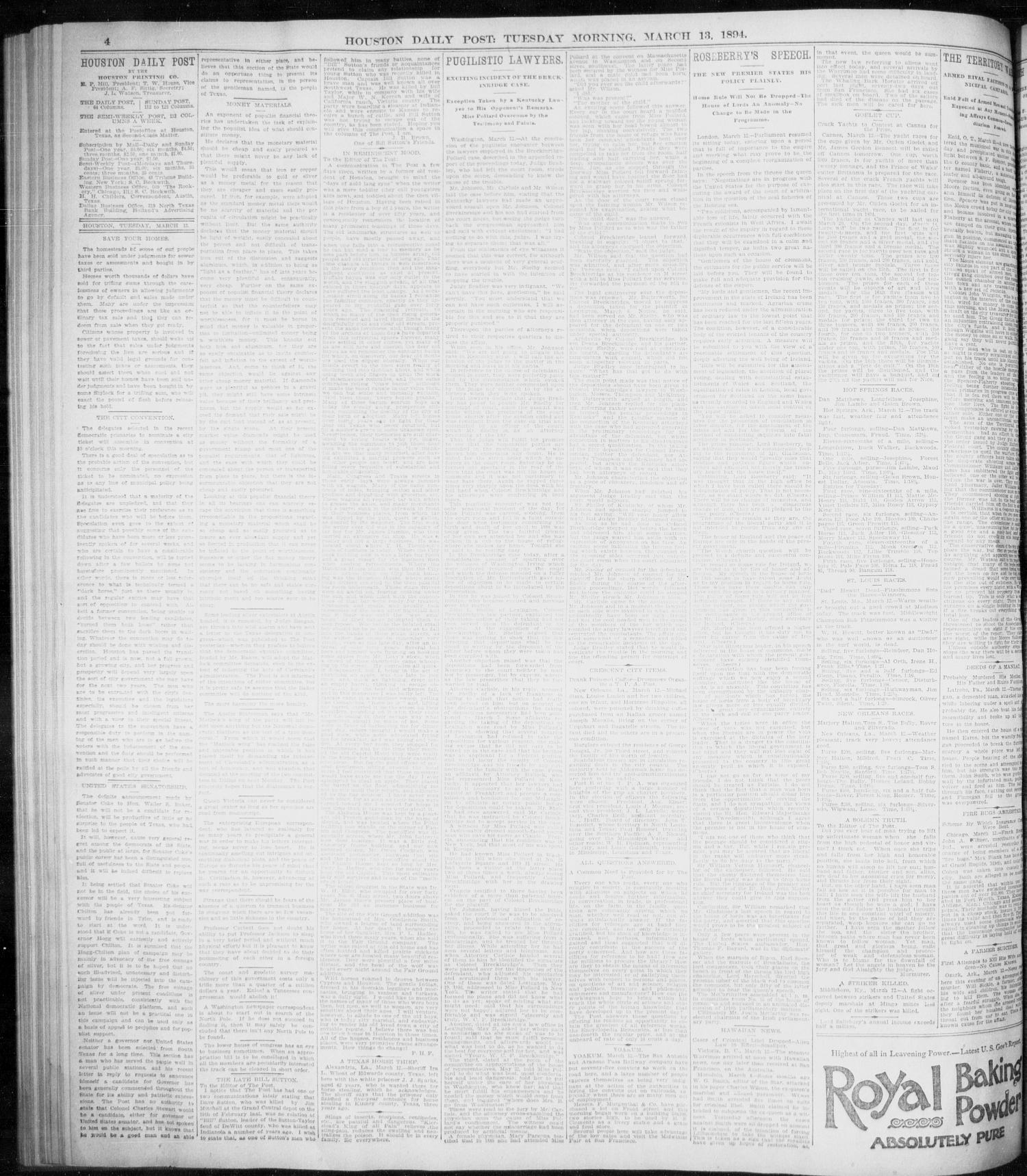 The Houston Daily Post (Houston, Tex.), Vol. NINTH YEAR, No. 341, Ed. 1, Tuesday, March 13, 1894                                                                                                      [Sequence #]: 4 of 8
