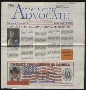 Primary view of object titled 'Archer County Advocate (Holliday, Tex.), Vol. 6, No. 25, Ed. 1 Thursday, September 25, 2008'.