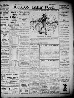 Primary view of object titled 'The Houston Daily Post (Houston, Tex.), Vol. XIVth Year, No. 180, Ed. 1, Thursday, September 29, 1898'.