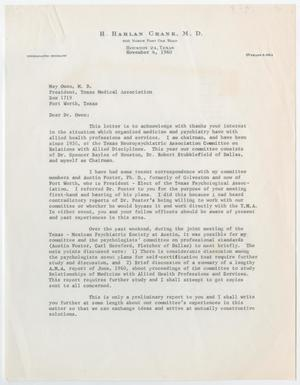 Primary view of object titled '[Letter from Dr. H. Harlan Crank to Dr. May Owen, October 21, 1961]'.