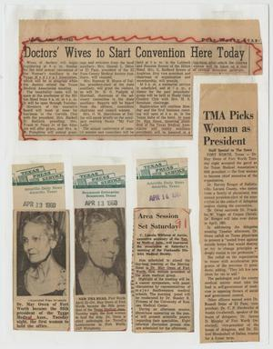 [Newspaper clippings about Dr. May Owen, and the Texas Medical Association Woman's Auxiliary]