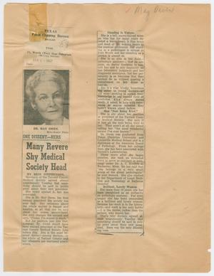 [Newspaper Clipping: Many Revere Shy Medical Society Head]