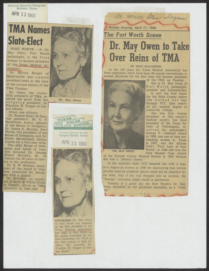 Newspaper clippings about Dr  May Owen, President of the