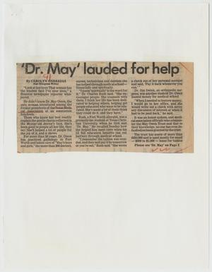 [Newspaper Clipping: 'Dr. May' lauded for help]