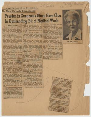 [Newspaper Clipping: Powder in Surgeon's Glove Gave Clue In Outstanding Bit of Medical Work]