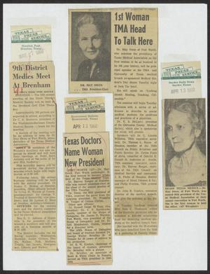 [Newspaper clippings about Dr. May Owen, and a TMA meeting]
