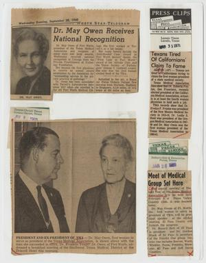 [Newspaper clippings about Dr. May Owen and the Texas Medical Association]
