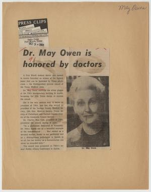 Primary view of object titled '[Newspaper Clipping: Dr. May Owen is honored by doctors]'.