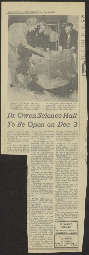 [Newspaper Clipping: Dr. Owen Science Hall To Be Open on Dec. 3]