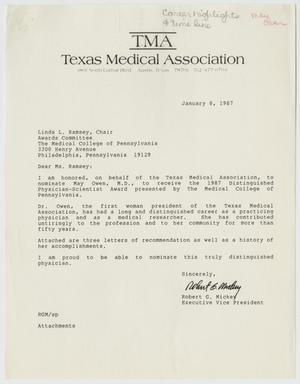 Letter from Mr  Robert G  Mickey to Linda L  Ramsey, January 8, 1987