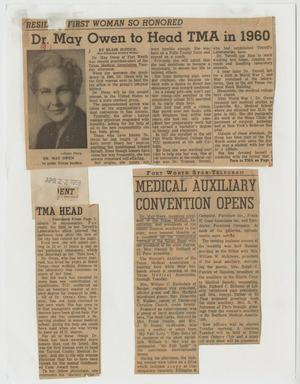 [Newspaper clippings discussing Dr. May Owen as head of the Texas Medical Association]