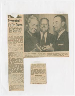 Primary view of object titled '[Newspaper Clipping: TMA Reins Presented To Dr. Owen]'.