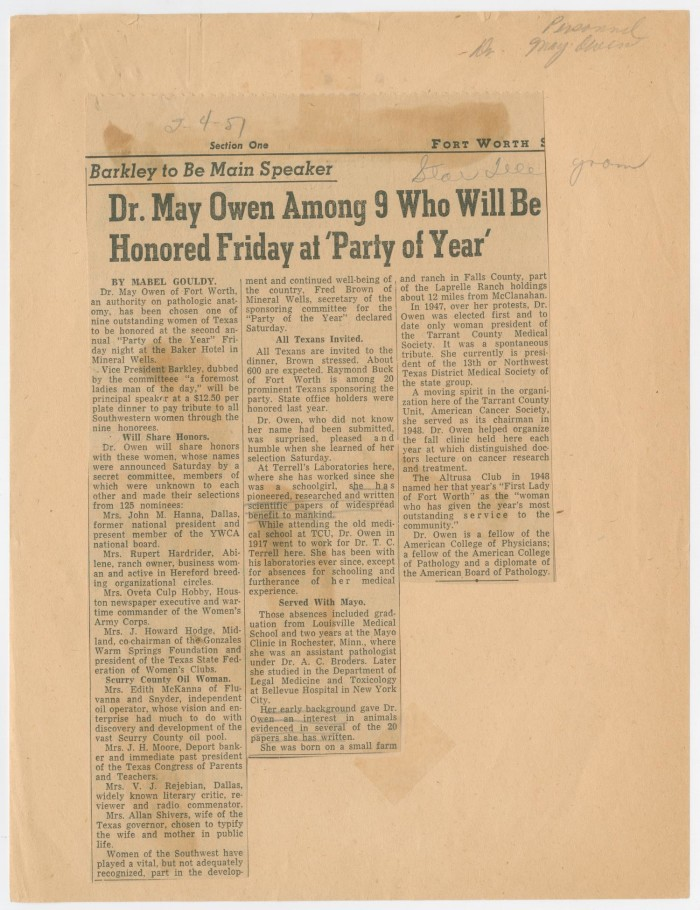 Primary View Of Object Titled Newspaper Clipping Dr May Owen Among 9