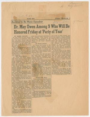 [Newspaper Clipping: Dr. May Owen Among 9 Who Will Be Honored Friday at 'Party of Year']