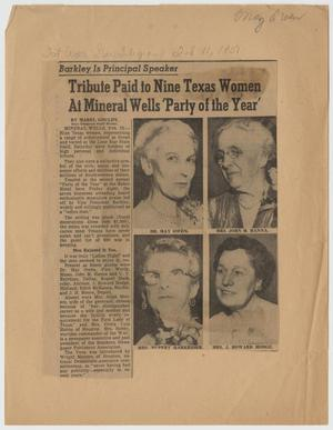 [Newspaper Clipping: Tribute Paid to Nine Texas Women At Mineral Wells 'Party of the Year']