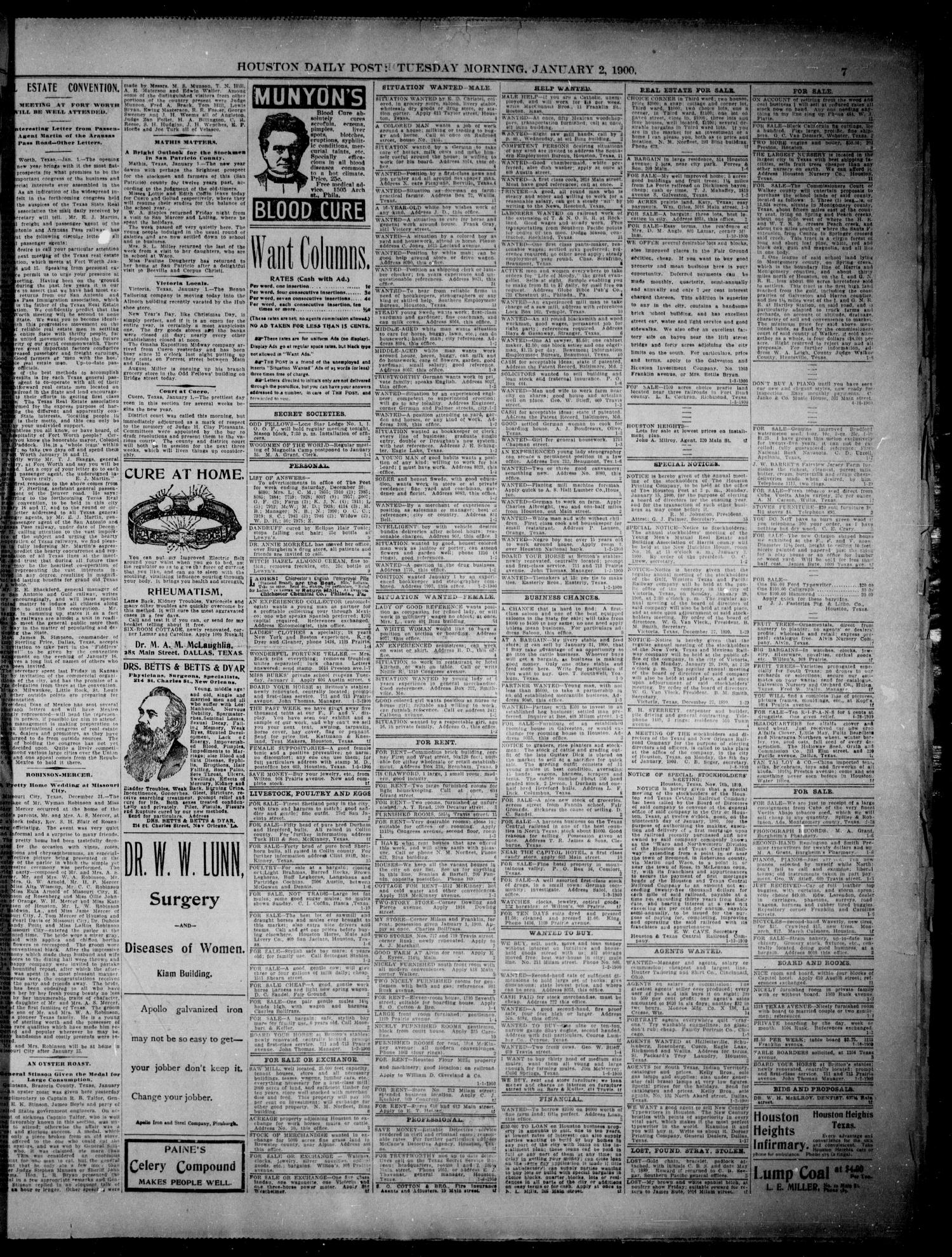 The Houston Daily Post (Houston, Tex.), Vol. XVth Year, No. 273, Ed. 1, Tuesday, January 2, 1900                                                                                                      [Sequence #]: 7 of 8