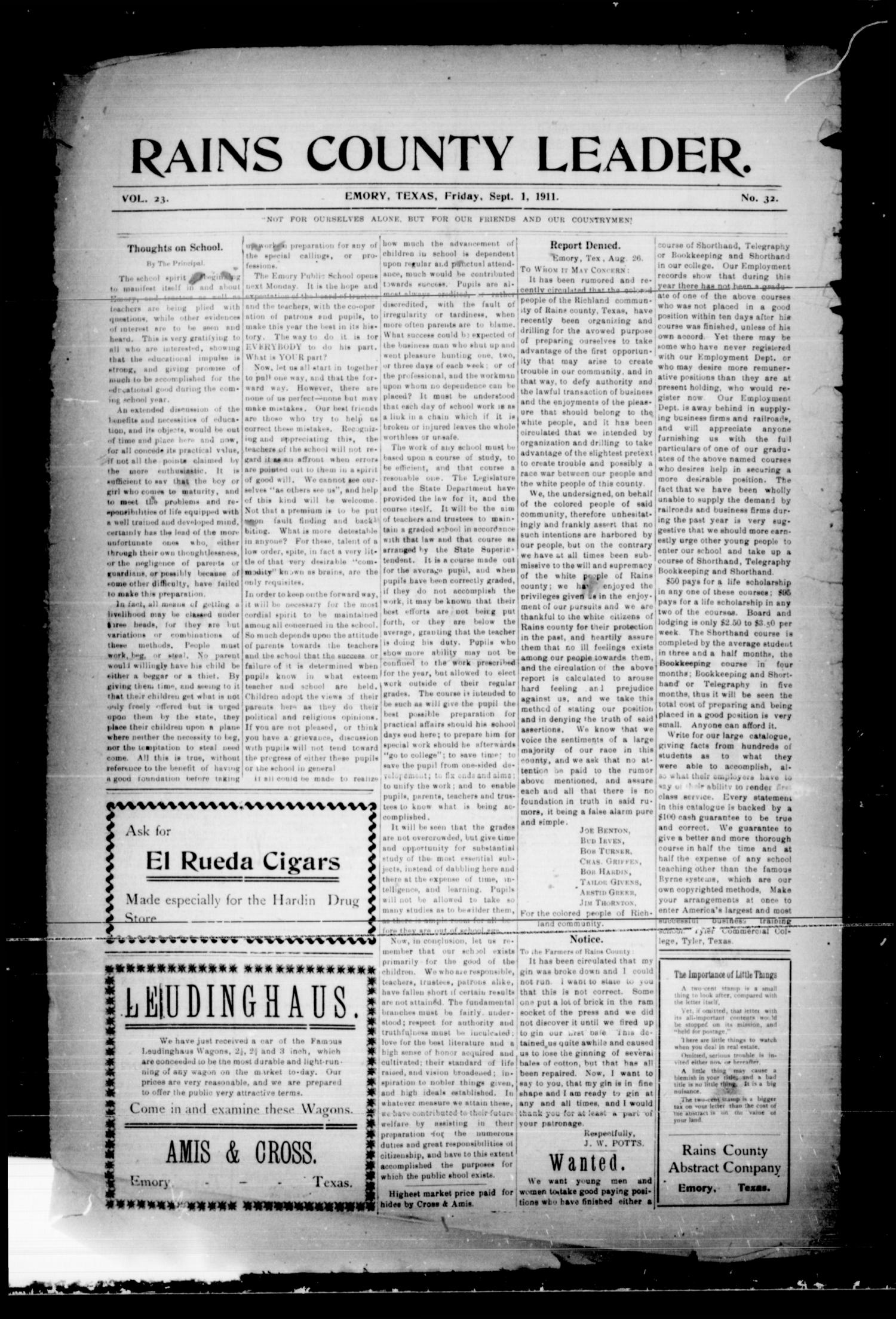 Rains County Leader. (Emory, Tex.), Vol. 23, No. 32, Ed. 1 Friday, September 1, 1911                                                                                                      [Sequence #]: 1 of 8