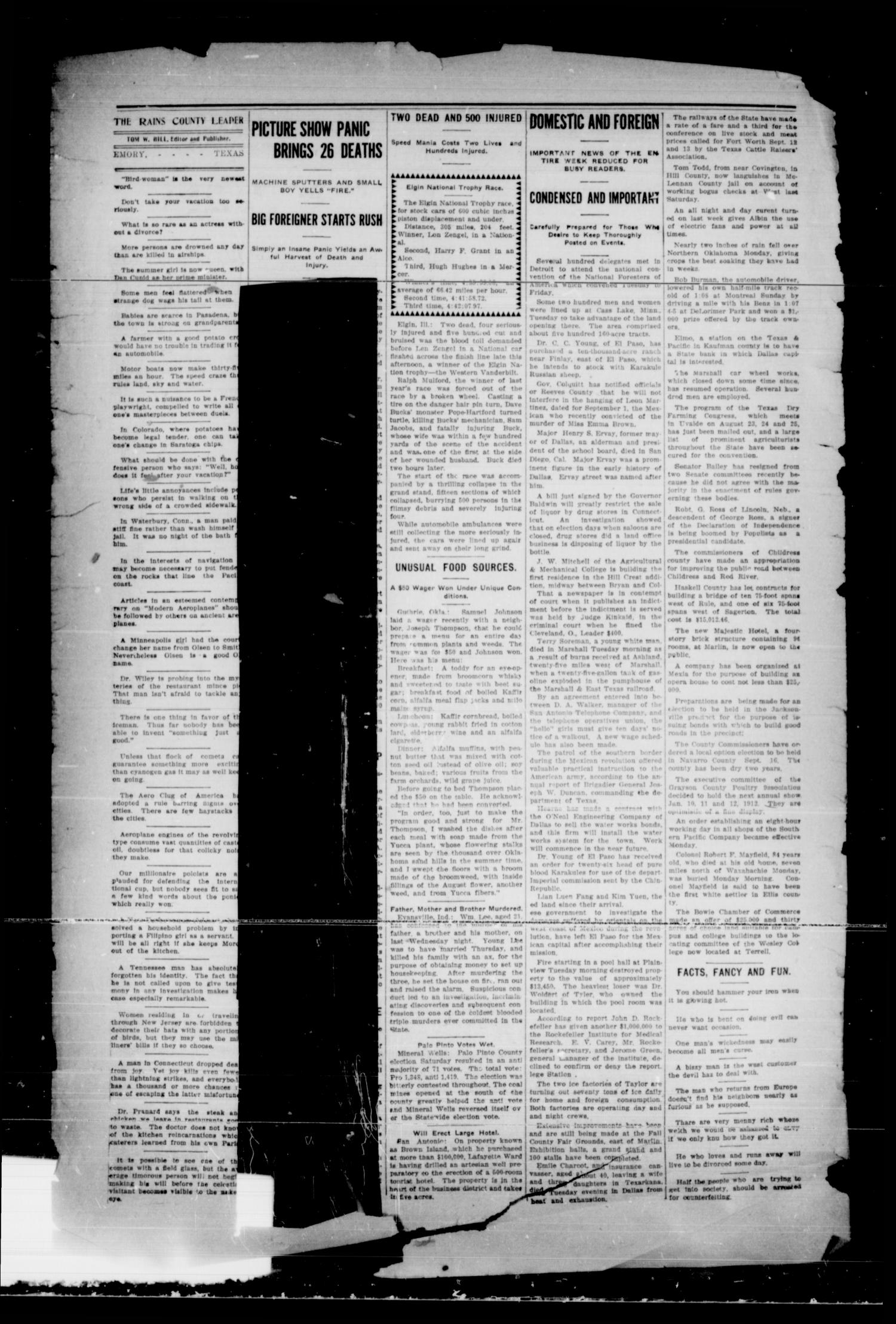 Rains County Leader. (Emory, Tex.), Vol. 23, No. 32, Ed. 1 Friday, September 1, 1911                                                                                                      [Sequence #]: 3 of 8
