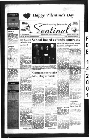 Primary view of object titled 'Seminole Sentinel (Seminole, Tex.), Vol. 94, No. 35, Ed. 1 Wednesday, February 14, 2001'.