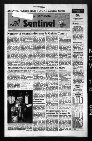 Primary view of object titled 'The Seminole Sentinel (Seminole, Tex.), Vol. 86, No. 7, Ed. 1 Wednesday, November 18, 1992'.