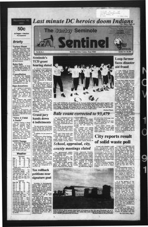 Primary view of object titled 'The Seminole Sentinel (Seminole, Tex.), Vol. 85, No. 4, Ed. 1 Sunday, November 10, 1991'.