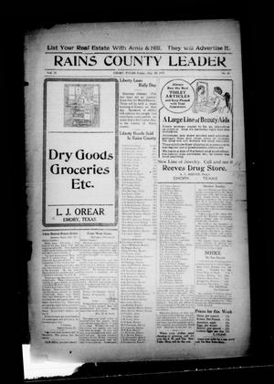 Primary view of object titled 'Rains County Leader (Emory, Tex.), Vol. 30, No. 43, Ed. 1 Friday, October 26, 1917'.