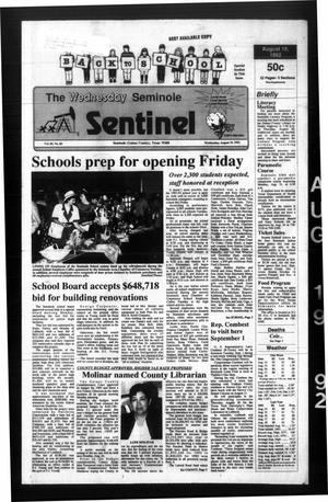 Primary view of object titled 'The Seminole Sentinel (Seminole, Tex.), Vol. 85, No. 85, Ed. 1 Wednesday, August 19, 1992'.