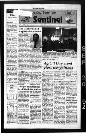 Primary view of object titled 'The Seminole Sentinel (Seminole, Tex.), Vol. 85, No. 94, Ed. 1 Sunday, September 20, 1992'.
