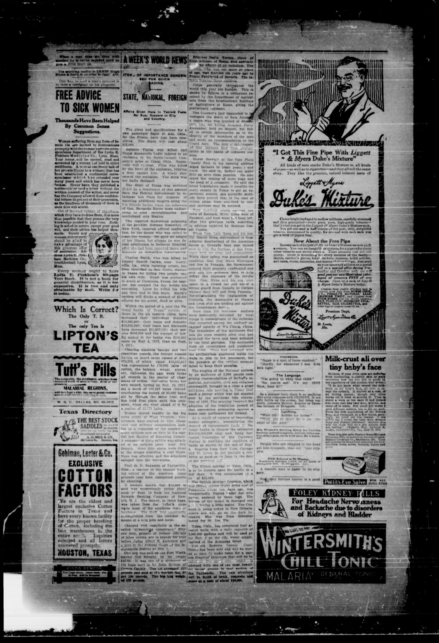 Rains County Leader (Emory, Tex.), Vol. 24, No. 44, Ed. 1 Friday, October 4, 1912                                                                                                      [Sequence #]: 2 of 8