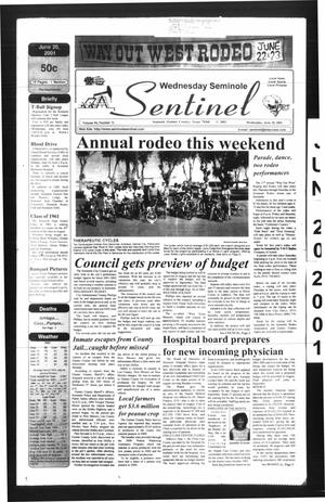 Primary view of object titled 'Seminole Sentinel (Seminole, Tex.), Vol. 94, No. 71, Ed. 1 Wednesday, June 20, 2001'.