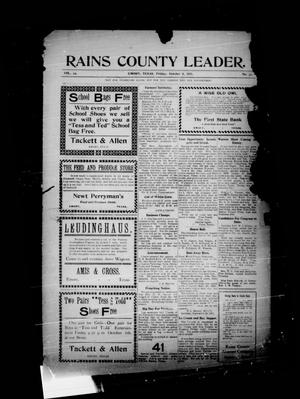 Primary view of object titled 'Rains County Leader. (Emory, Tex.), Vol. 23, No. 37, Ed. 1 Friday, October 6, 1911'.