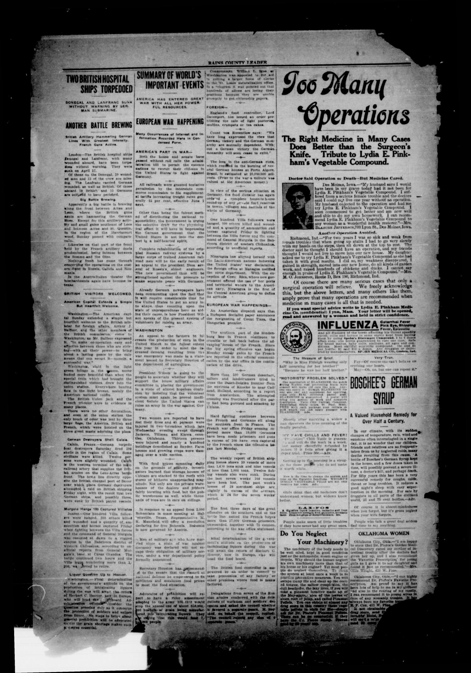 Rains County Leader (Emory, Tex.), Vol. 30, No. 17, Ed. 1 Friday, April 27, 1917                                                                                                      [Sequence #]: 2 of 8