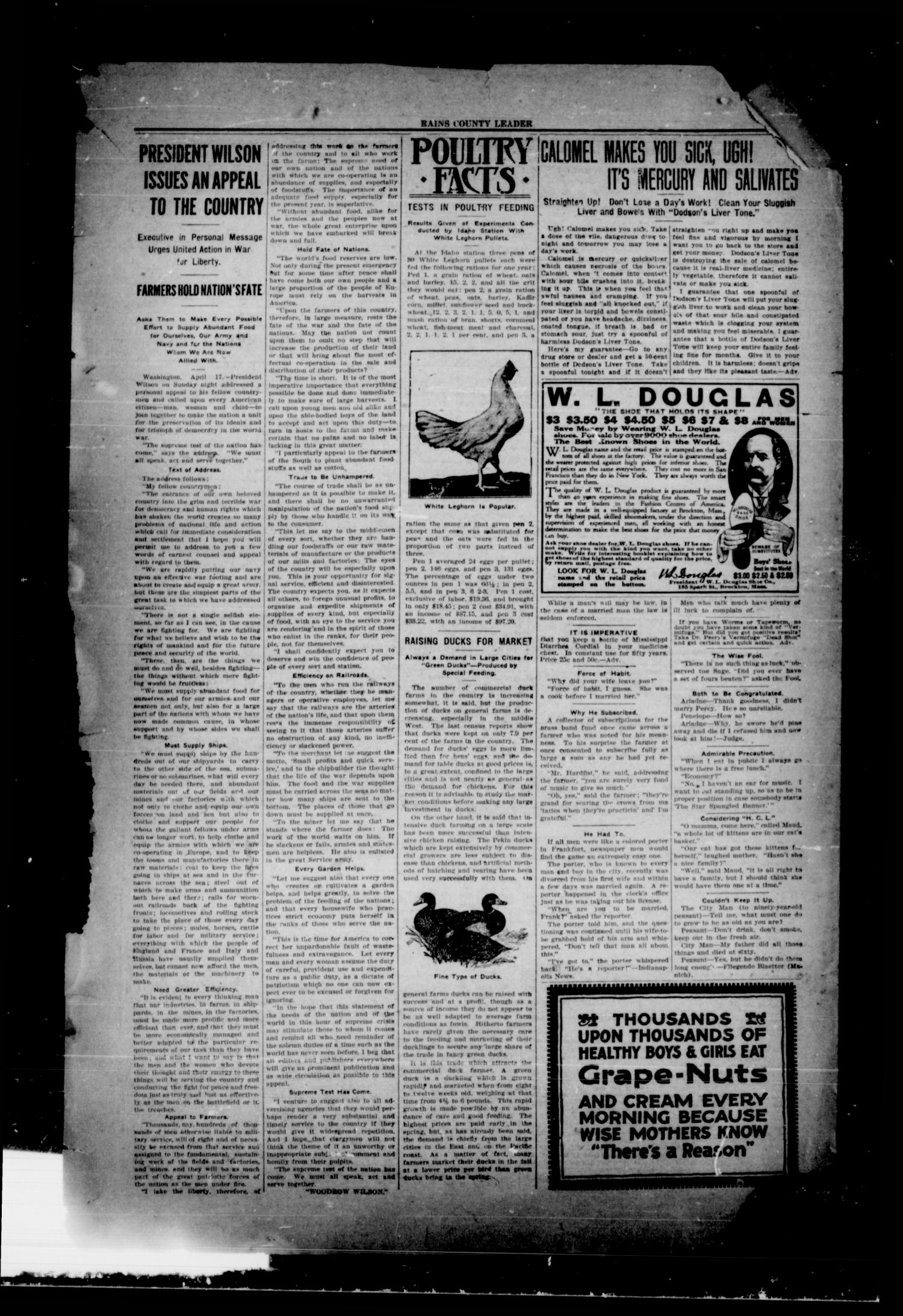 Rains County Leader (Emory, Tex.), Vol. 30, No. 17, Ed. 1 Friday, April 27, 1917                                                                                                      [Sequence #]: 4 of 8
