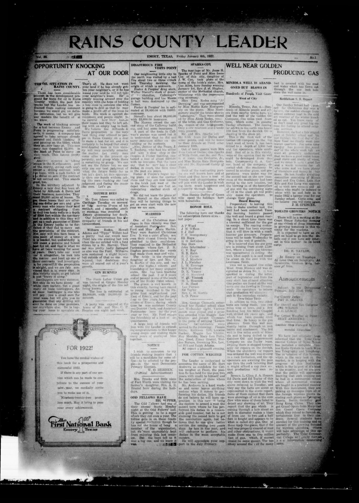 Rains County Leader (Emory, Tex.), Vol. 33, No. 1, Ed. 1 Friday, January 6, 1922                                                                                                      [Sequence #]: 1 of 14