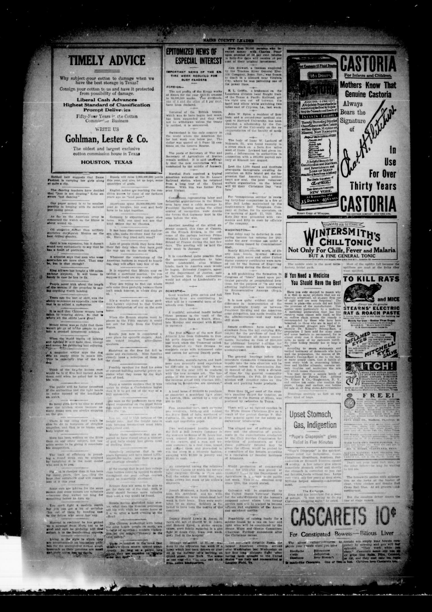 Rains County Leader (Emory, Tex.), Vol. 33, No. 1, Ed. 1 Friday, January 6, 1922                                                                                                      [Sequence #]: 4 of 14