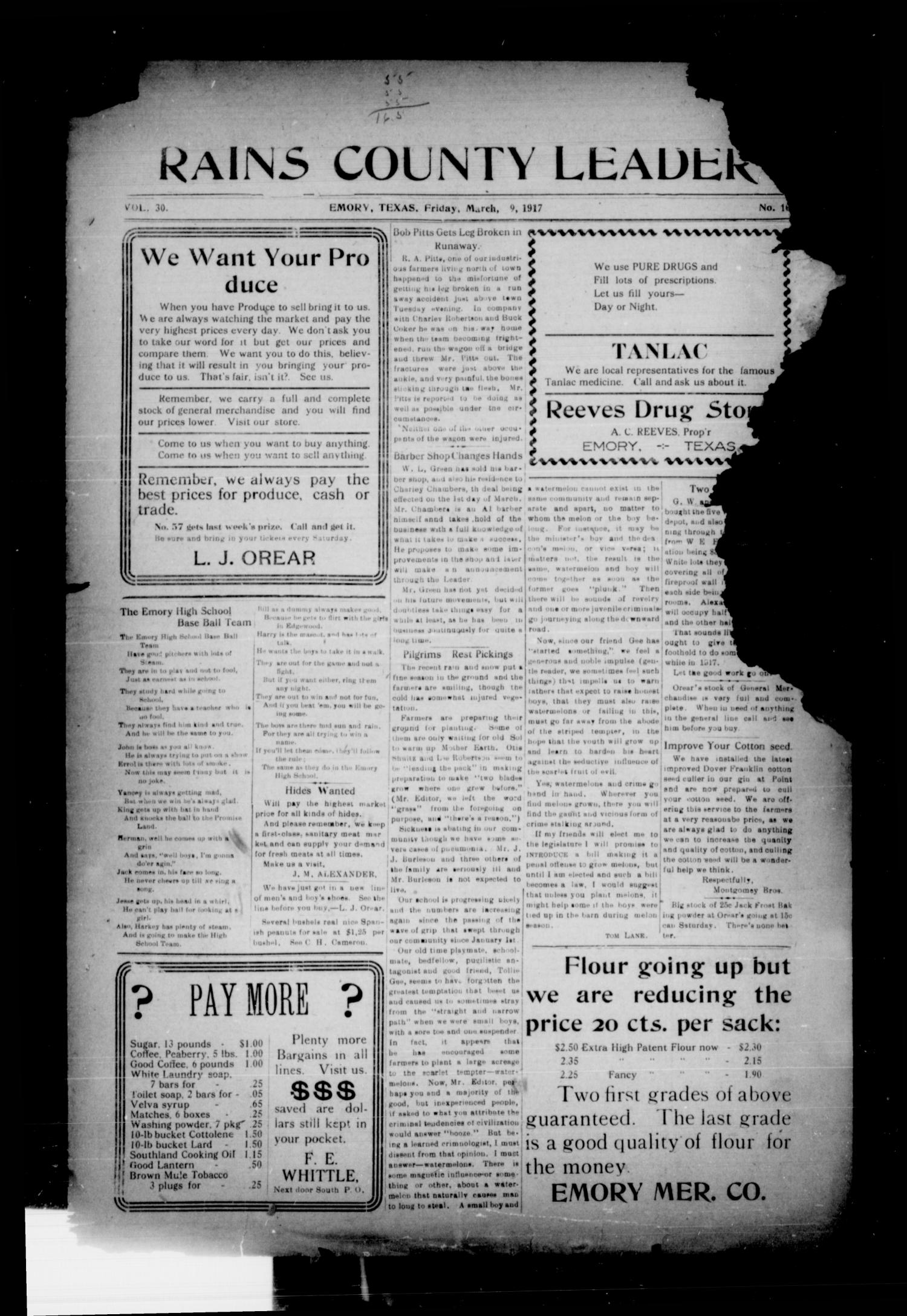 Rains County Leader (Emory, Tex.), Vol. 30, No. 10, Ed. 1 Friday, March 9, 1917                                                                                                      [Sequence #]: 1 of 8