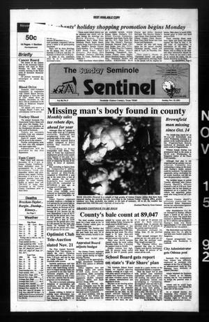 Primary view of object titled 'The Seminole Sentinel (Seminole, Tex.), Vol. 86, No. 6, Ed. 1 Sunday, November 15, 1992'.