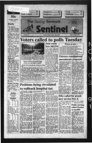 Primary view of object titled 'The Seminole Sentinel (Seminole, Tex.), Vol. 85, No. 2, Ed. 1 Sunday, November 3, 1991'.