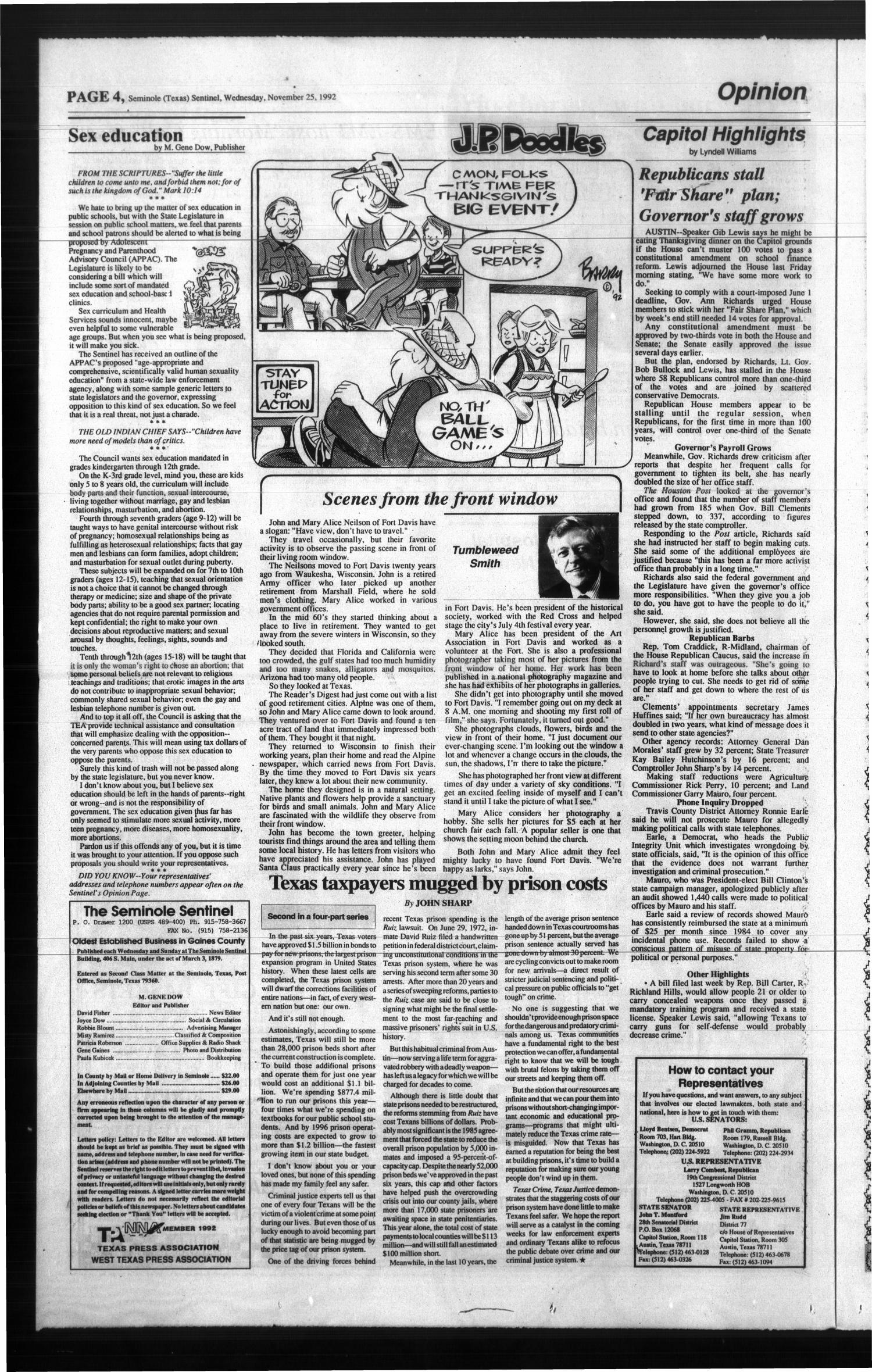 The Seminole Sentinel (Seminole, Tex.), Vol. 86, No. 9, Ed. 1 Wednesday, November 25, 1992                                                                                                      [Sequence #]: 4 of 12