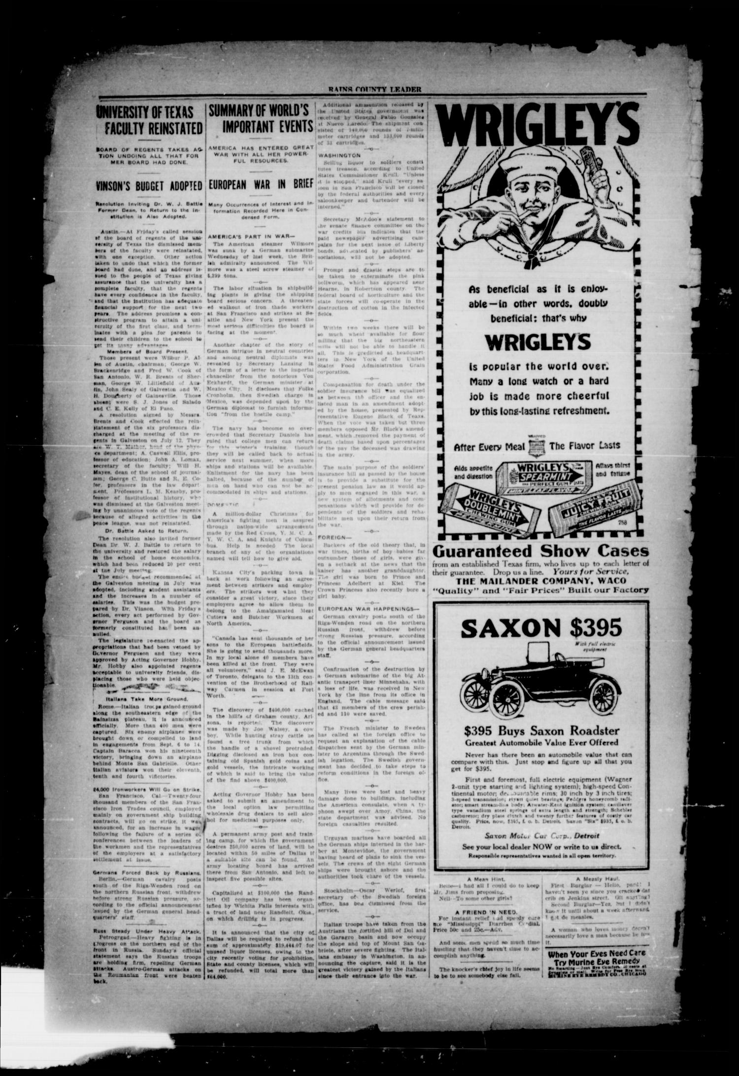 Rains County Leader (Emory, Tex.), Vol. 30, No. 38, Ed. 1 Friday, September 21, 1917                                                                                                      [Sequence #]: 2 of 12