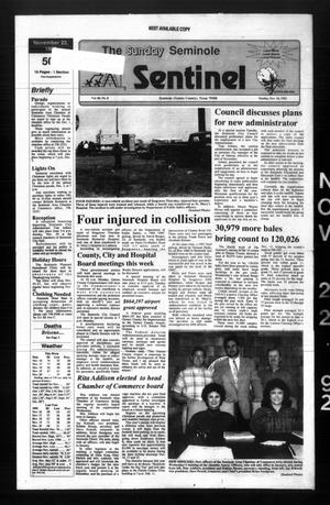 Primary view of object titled 'The Seminole Sentinel (Seminole, Tex.), Vol. 86, No. 8, Ed. 1 Sunday, November 22, 1992'.